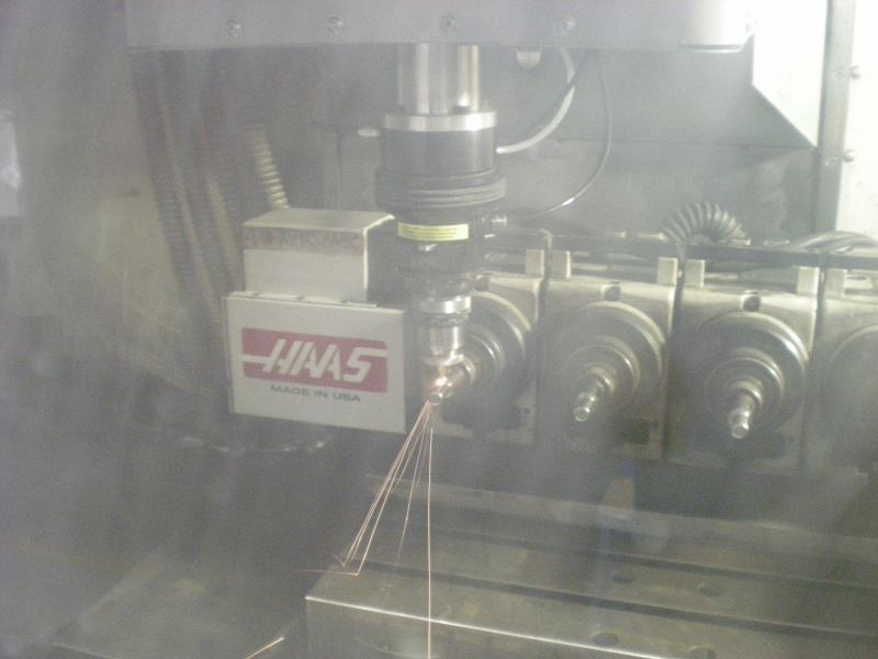 Laser Cutting Parts on Rotary Device on Haas Automation CNC