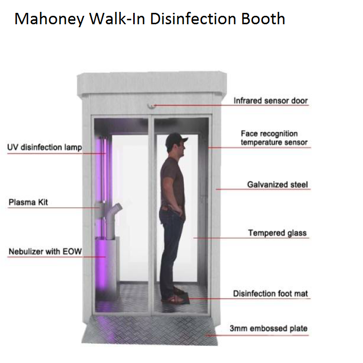 Mahoney entryway walk-in disinfection booth COVID-19