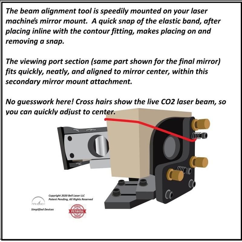 CO2 Laser Beam Alignment Visualization Tool fits third mirror mount