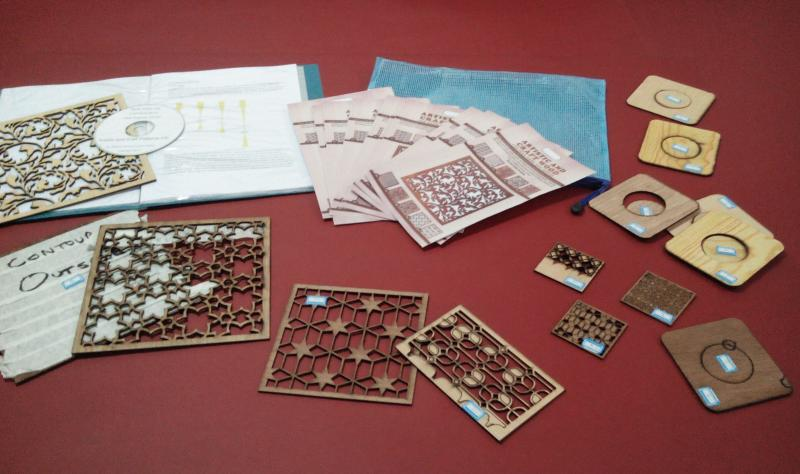 Artistic wood samples kit to aid in selling laser processing services